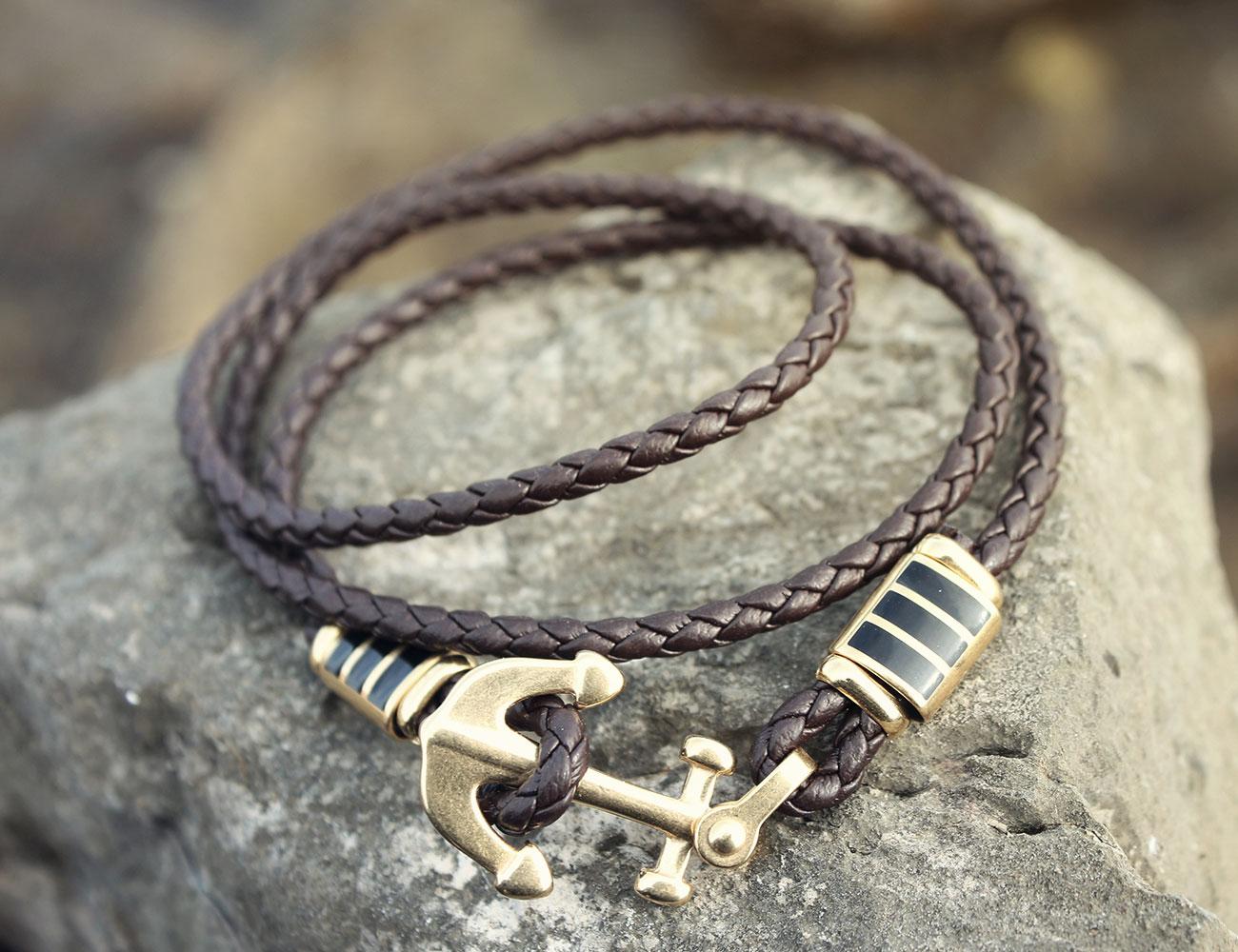 Bracelet cuir avec une ancre de marine dor e - Dessiner une ancre marine ...