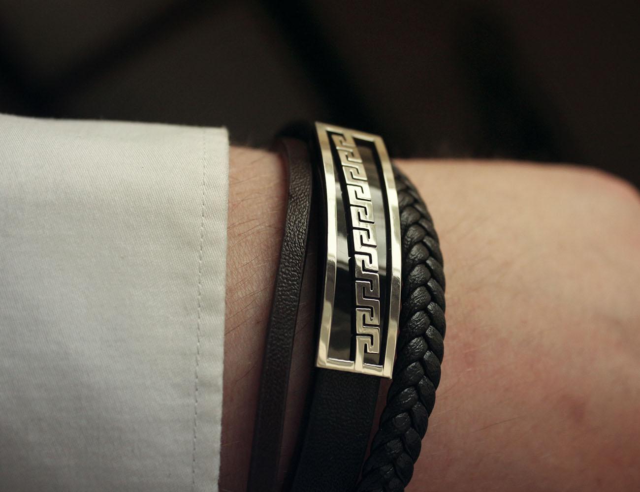 Grec Bracelet Pour HommeEn Avec Du Méandre Motif Cuir Moreti bf6yvg7Y